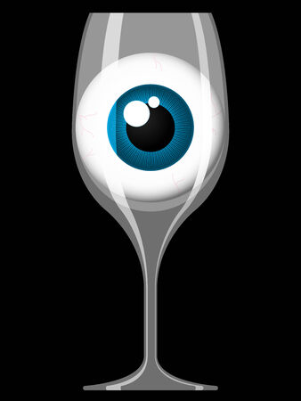 glass reflection: Wine glass with staring eye