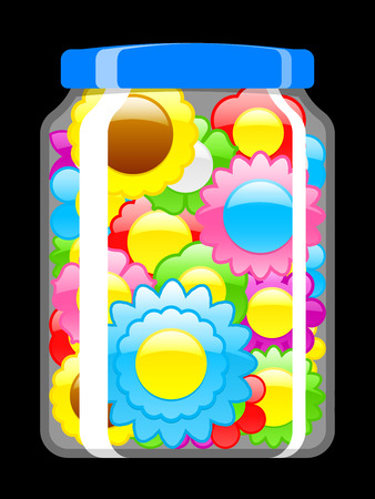 Colorful blossoms in preserving jar Vector