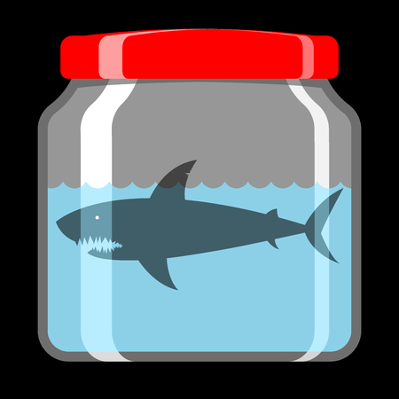 Shark in preserving jar Vector