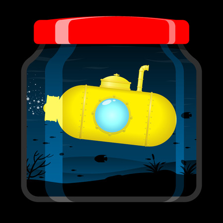 Yellow submarine in preserving jar Stock Vector - 5187570
