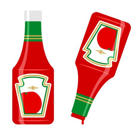 condimentos: Botella de salsa de tomate