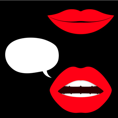 Female lips with speech bubbles Vector