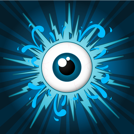 Starburst with eyeball on blue background Vector