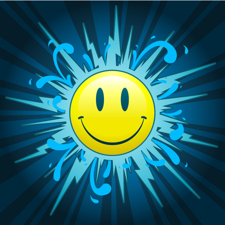 Starburst with smiley face on blue background Vector