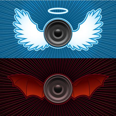good bad: Haut-parleurs avec des ailes - bon et le mauvais