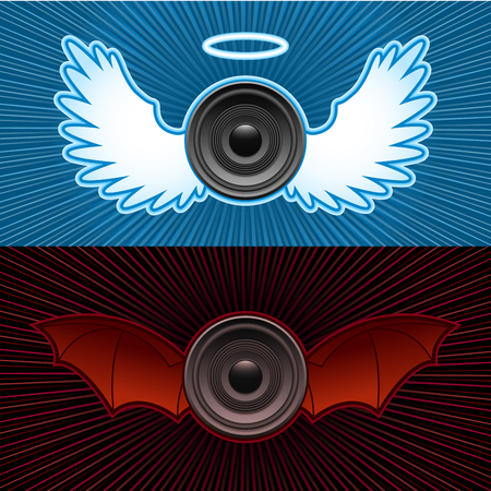 Speakers with wings - good and bad Stock Vector - 5280982