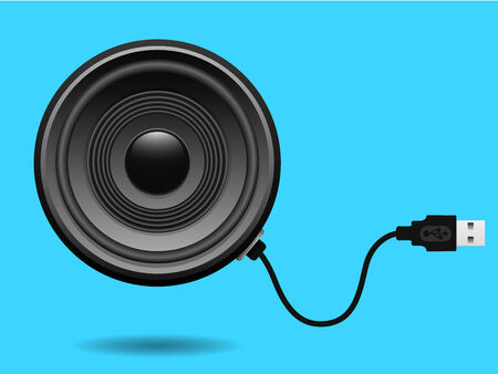 Speaker with USB cable Vector