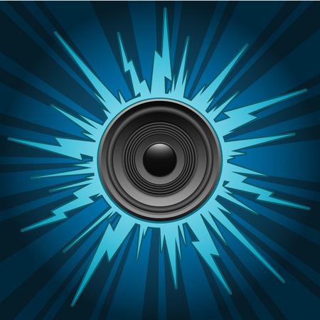 explosion: Lautsprecher auf Blau explodieren Hintergrund