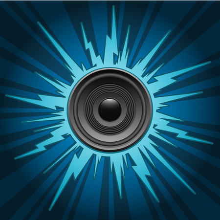 Speaker on blue exploding background Vector