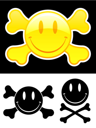 Smiley face with crossbones Stock Vector - 5371011