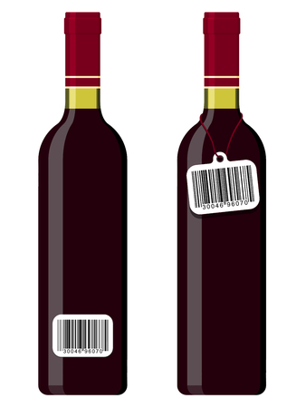 Wine bottles with bar code tag Vector