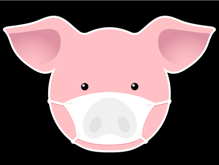 pig head with mask Vector