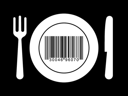 Plate, fork and knife wit bar code