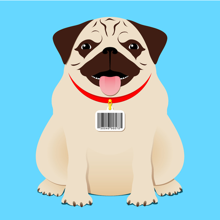 Dog with bar code tag Vector