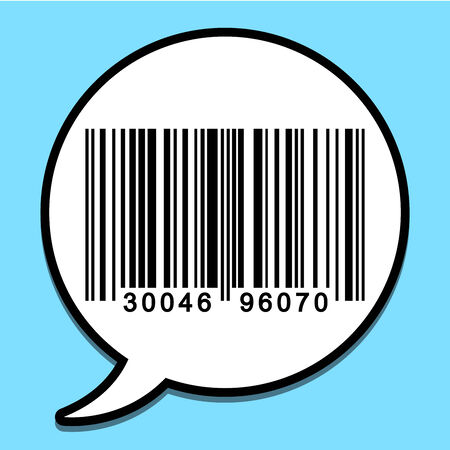 Speech bubble with bar code Vector