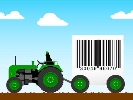 Tractor pulling a huge bar code Vector