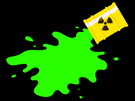 Yellow drum with spilled green radioactive liquid Vector