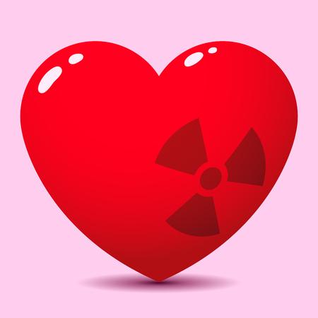 radioactive symbol: Coraz�n brillante con s�mbolo radiactivo Vectores