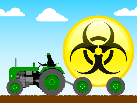 yellow tractors: Tractor pulling glossy biohazard icon