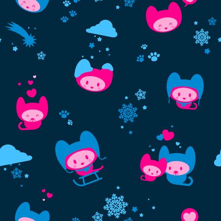 Cute seamless winter kitten background  Vector