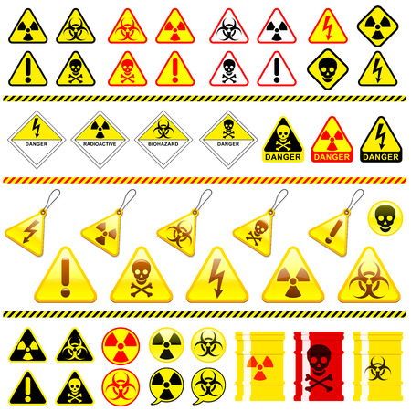 caution chemistry: Huge danger symbol icon collection Illustration