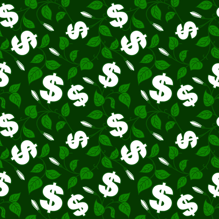 Ornamental floral background with dollar symbol Vector