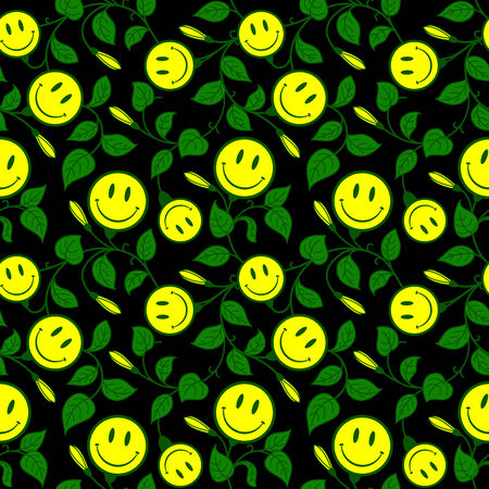 Ornamental floral background with smiley Stock Vector - 5862420