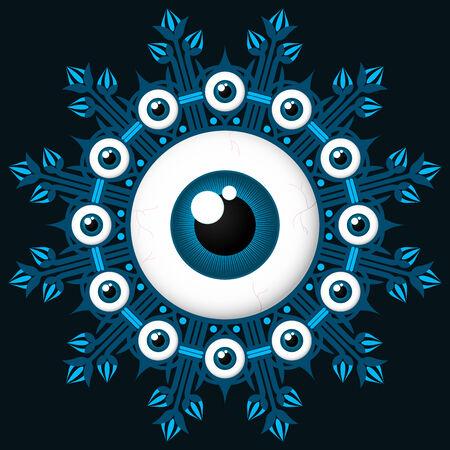 black wreath: Eyeball design element wreath