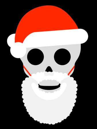 Skull with santa hat and attached beard Vector