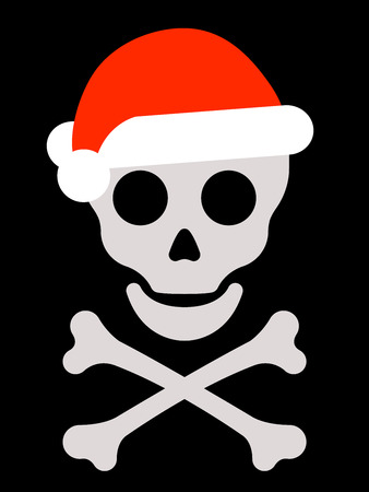Skull with santa hat and crossbones Vector