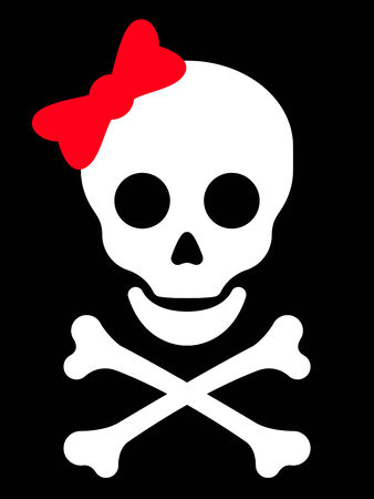 Skull with red bow Stock Illustratie