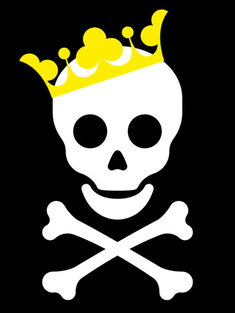 skull and crown: Skull with yellow crown