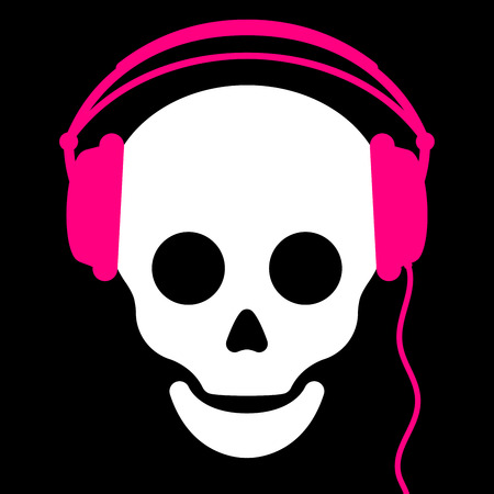 Skull with with pink headphones  Illustration