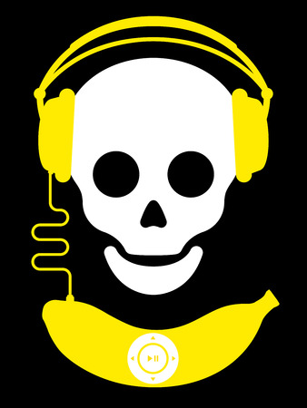 Skull with with headphones and banana music player Stock Illustratie