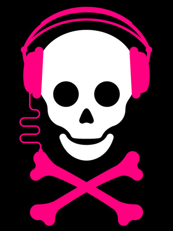 Skull with with headphones and crossbones music player