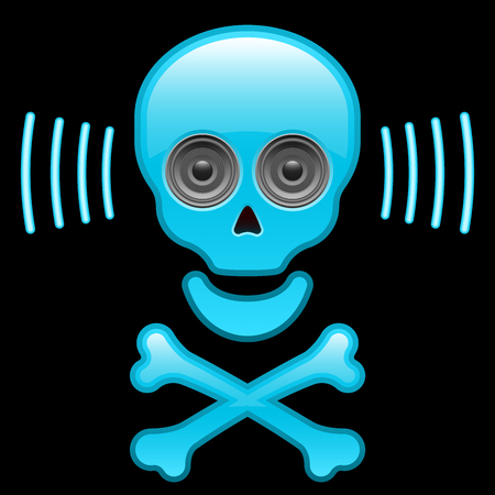 Glossy skull with speaker eyes and crossbones Vector