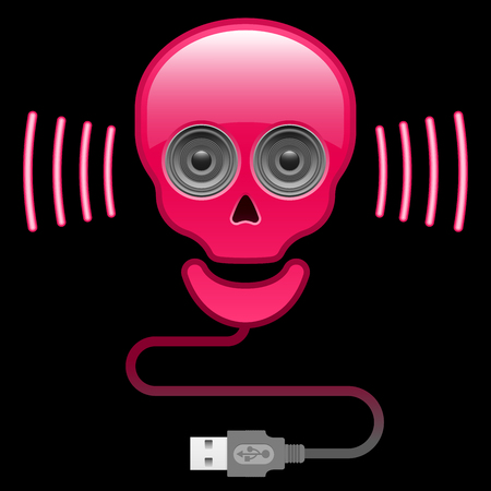Glossy skull with speaker eyes and usb cable Vector