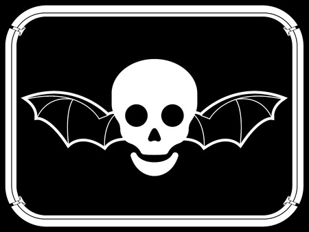 Skull with bat wings and frame Vector