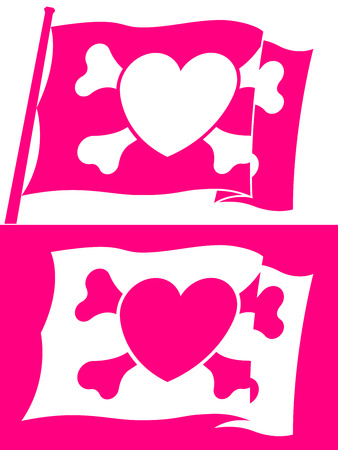 Heart jolly roger flag Stock Vector - 7018063