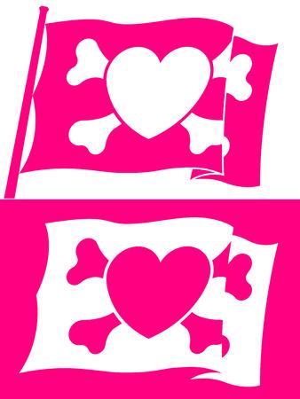 jolly roger pirate flag: Heart jolly roger flag Illustration