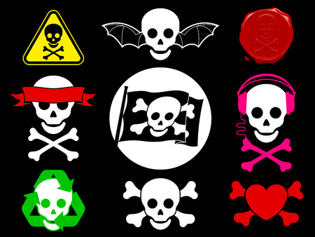 Skull pirate icon collection Vector