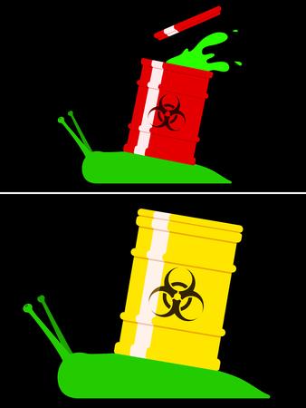 toxic barrels: Caracol t�xico con ca��n de riesgo biol�gico