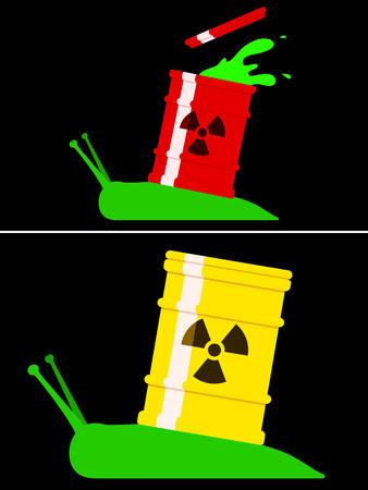 Toxic snail with radioactive barrel Stock Vector - 7018066
