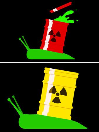 barrel radioactive waste: Toxic snail with radioactive barrel