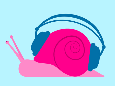 Pink Snail with headphones Vector
