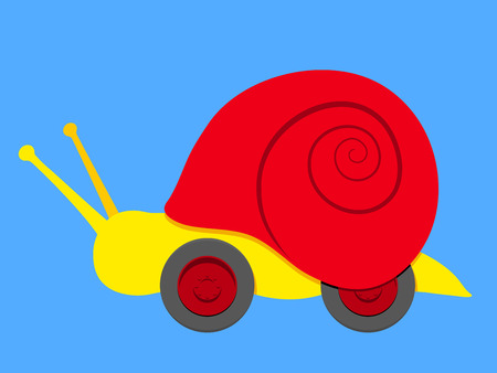 Snail with wheels Vector