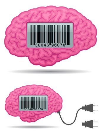 Brain with barcode screen and connector plug Vector