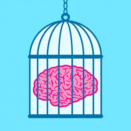 Brain captured in birdcage Stock Vector - 7276221