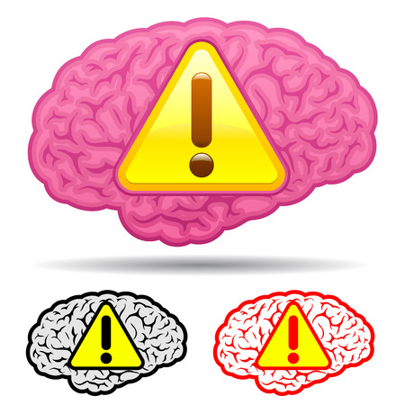 Brain with caution sign collection Vector