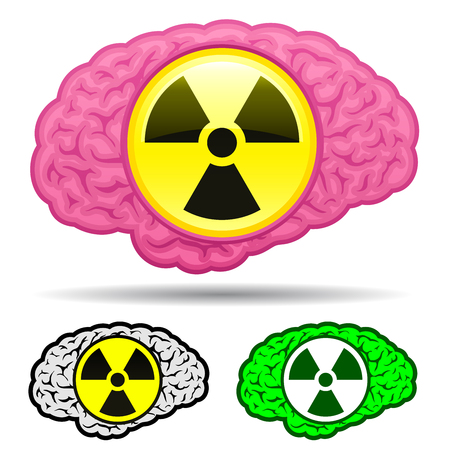 Brain with radioactive icon set Stock Vector - 7276222